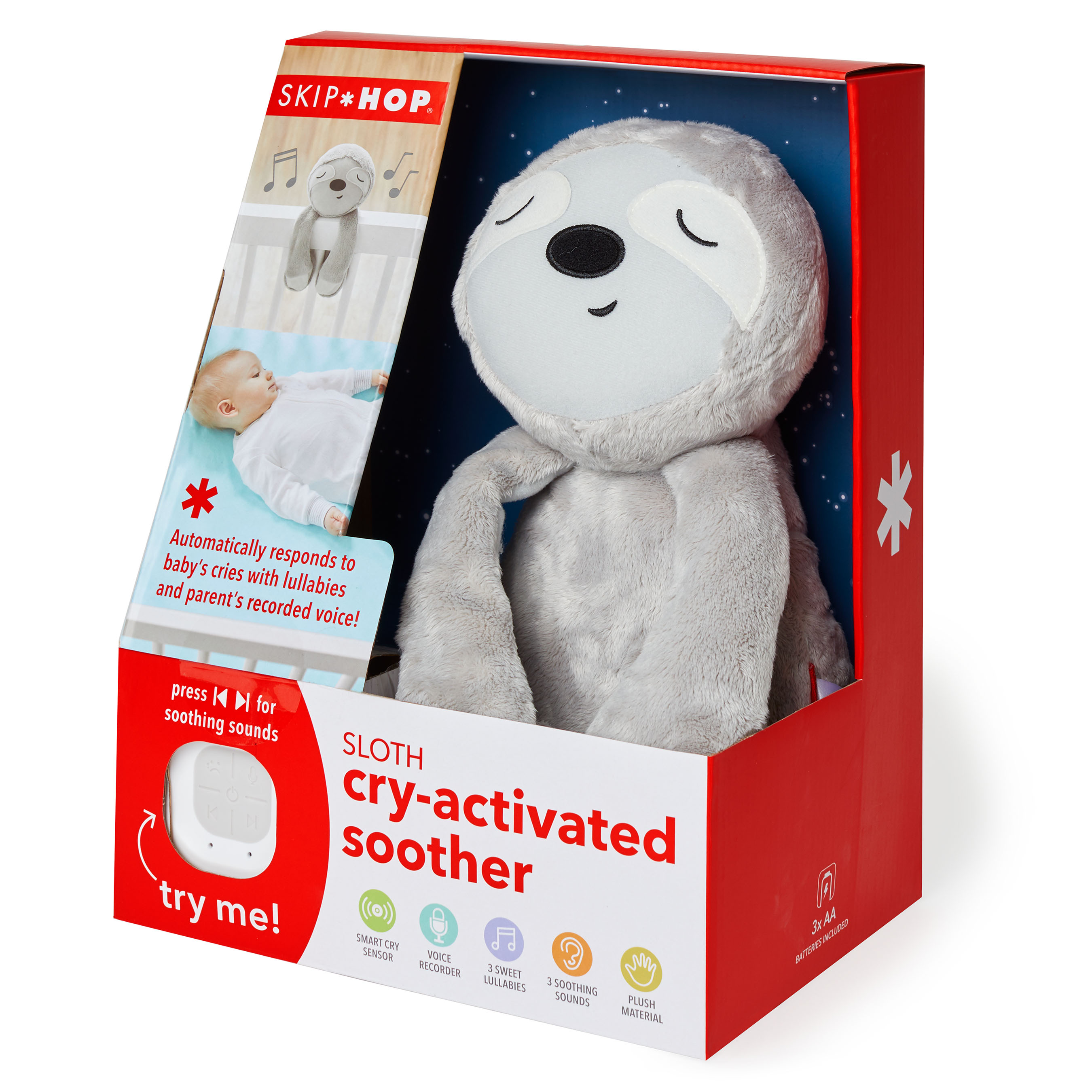 Cry-activated soother - sloth